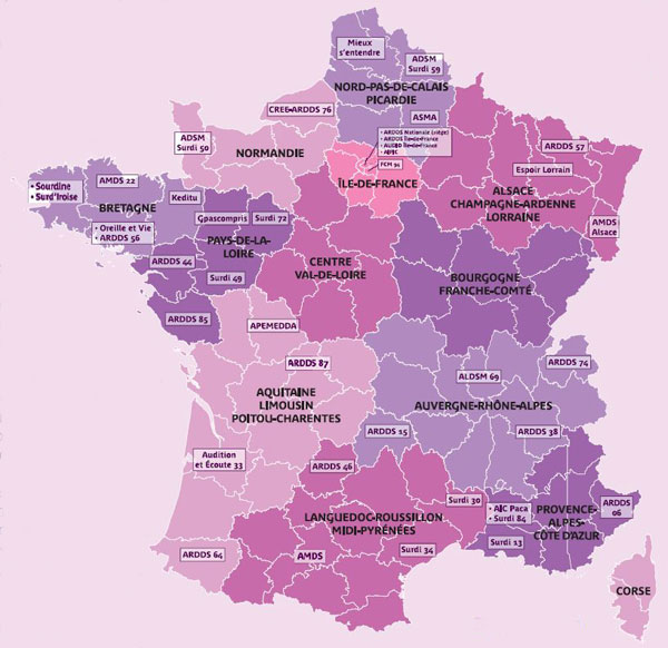 Carte de France des associations du Bucodes